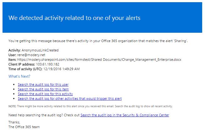 Office 365 Advent Calendar – 19 Auditing External Sharing in